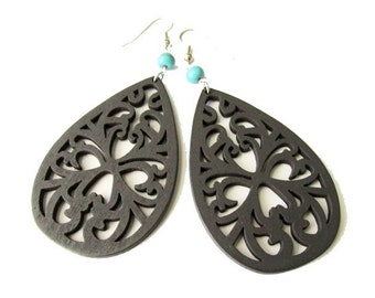 Dark Brown Wooden Filigree and Turquoise Stone Earrings