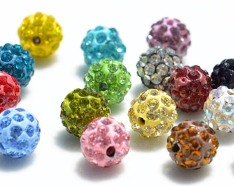 5 Multi Colored Shamballa 10mm Round Beads BD932