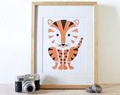 Tiger Screenprint, Jungle Art, Animal Print