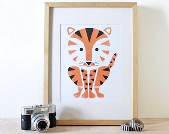 Tiger Screenprint, Jungle Art, Animal Print