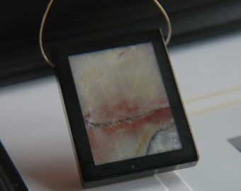 Amazonite, Black Stone Intarsia Pendant