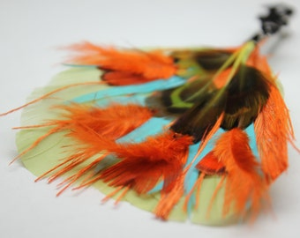 """Men's Lapel Pin, Feather Boutonniere, Hat Pin Brooch """"Under the Sea"""" - green, aqua, orange pheasant feathers with silver toned fish pin base"""