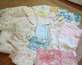 vintage lot of flower print bed sheets and Chenille bedspread GLAMPING linens