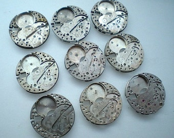Vintage steampunk watch parts, 9 watch back plates (L55)