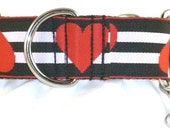 1.5 inch hearts greyhound martingale dog collar, red, black, stripes, white, valentine, dog collar with tag keeper--Musical Hearts