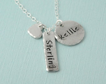 Special listing for Katiebug9465 Name Necklace, mothers necklace, heart necklace, hand stamped