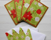 Holiday Card Set : 4 Hand-Stamped Greeting Cards with Matching Embellished Envelopes - Bold Holiday