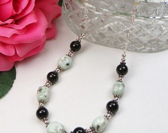 Black Onyx & Kiwi Jasper Necklace - Beaded Jewelry -Genuine Gemstone - Gift For Her - Sterling Silver - Cable Chain