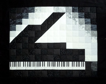 Piano Wall Art Quilt - Black and White - An Original by ElizabethCreations