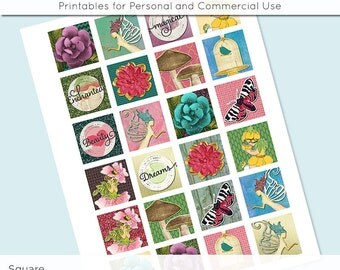 Enchanted Fairy Land Digital Collage Sheet 1x1 Inch Squares and 1.5 Inch Squares for Glass Resin Pendants Charms JPG 1 Inch