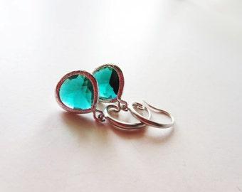 Emerald green earrings.  Framed glass earrings. Forest green.  Dark green.  Emerald green jewelry. Green pendant earrings.
