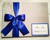 Guest book Wedding Photo Album 200 - 210 Wide Format  Book for 75 Photos-50 fabrics, 10 Satin Ribbon Colors,  Customized Monogram Card