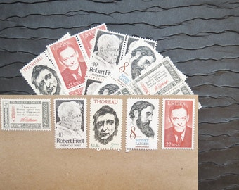 Literary Gents ..  UNused Vintage Postage Stamps  .. post 5 letters