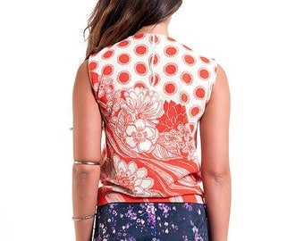 35% OFF SUMMER SALE The Red and Beige Floral Polka Dot Tank