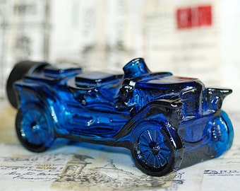blue car, vintage Bottle with Stoper from an estate sale, Home decor, collectibles, Photo PROP, cool vintage, UA