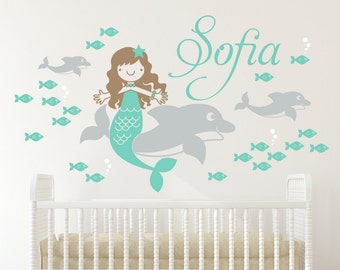 Dolphin Mermaid Name Wall Decal Ocean Baby Nursery Under the Sea Personalized Girls Underwater Nautical Room Decor