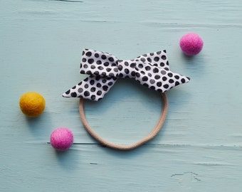 Sophie Hand-tied Black and White Polka dot Simple Classic Fabric Bow Nylon Elastic or Alligator Clip