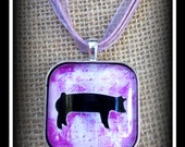 Show Pig Glass Dome Image Pendant With Ribbon Necklace