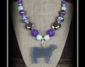 Show Steer Glass Pendant With Beaded Necklace
