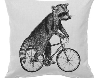 Raccoon on a Bicycle - Throw Pillow