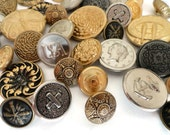40 Vintage Metal Buttons - Silver and Gold Button Destash