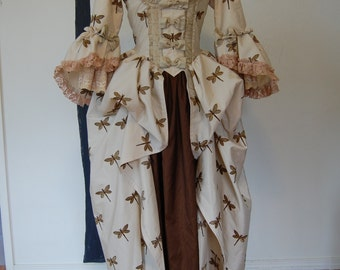 Dragon fly embroidered Marie Antoinette Victorian inspired rococo costume dress