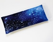 Flax Seed and Lavender Eye Pillow, Night Sky Galaxy Stars Outer Space, Headache Relief Flaxseed Pillow