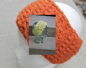 Floral Headband Ear warmer - Handmade Accessory Womens Crochet Headband - Crochet Ear Warmer Headband-Lime Green - Orange