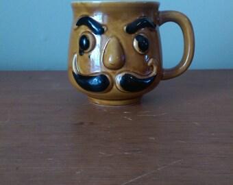 Vintage Ceramic Moustache Mug.  Brown and Black.