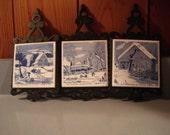 Vintage Trivets/   Currier and Ives/  Blue and White  /  set of 3     Vintage Kitchen / Home Decor