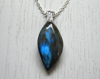 SALE - Awesome Blue Freeform Labradorite Pendant Necklace