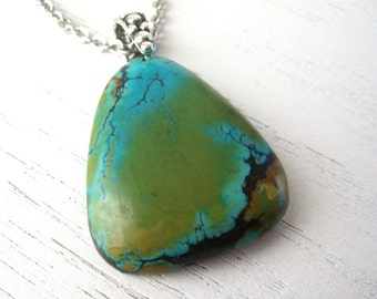 SALE - Natural Turquoise and Green Tibetan Turquoise Pendant Necklace