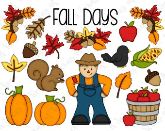 Fall Days Hand Drawn Digital Clipart - Set of 18 - Autumn Fall Leaves Scarecrow Crow Pumpkins Acorn Squirrel - Instant Download - Item #9167