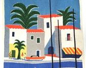Vintage Souvenir Towel Air France Travel Poster Guy Georget French Riviera Mediterranean