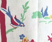 Vintage Kitchen Towel Birds Flowers Picket Fence Table Runner Toweling Fabric