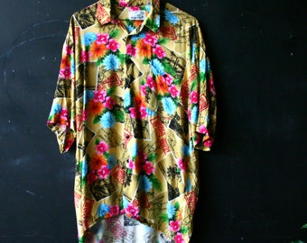 Hawaiian Shirt Original Bohemian Rayon Island Tropical Shirt Polynesian Print Hibiscus Vintage From Nowvintage on Etsy