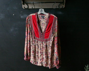 Vintage Peasant Blouse Bohemian Fashion Red Tan 90s Grunge Button Down Front Lucky Brand