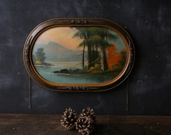 Antique Folk Art Landscape Painting In the Style of Henry Rousseau Signed L Rup From Nowvintage on Etsy