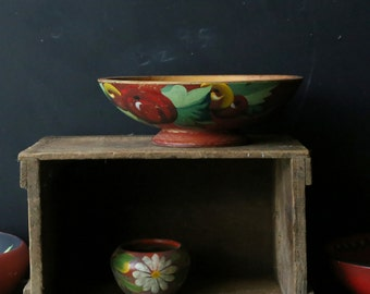 Hand Painted Primitive Bowl Bohemian Home Decor Fruit 50s Frida Kahlo Style Vintage From Nowvintage on Etsy