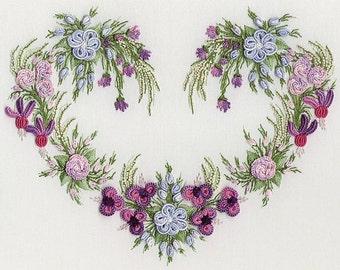 Ariel's Heart Brazilian embroidery kit #1042 - EdMar threads/choose fabric color