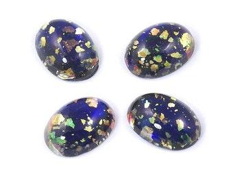 Czech Glass Black Opal Cabochons 18x13mm - 2