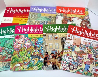 Highlights for Children, 1979-1993 Children's Books, Activities for Kids, Set of 7 Books, Fun Learning, Vintage Books, Bright Colorful