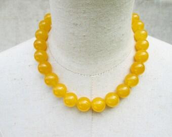 Chunky Dark Yellow Beaded Necklace, Goldenrod Gemstone Beads Mustard