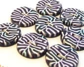 Handmade Round Buttons Dark Blue Purple White 20mm