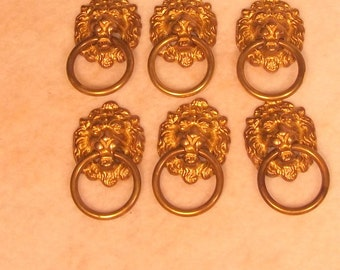 Set of 6 Cast Brass Lions Head Ring Pull  Drawer Handles