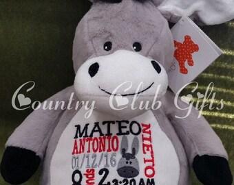 Personalized baby gift, birth announcement, plush, stuffed animal donkey,embroidery, keepsake, subway art, donkey, Original Embroider Buddy