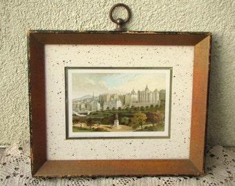 1890 Framed Chromo Lithograph - Old Town Edinburgh Princes St Gardens - T Nelson & Sons