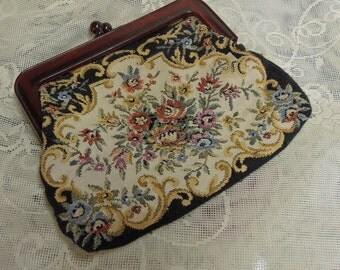 Vintage Tapestry Purse, Faux Tortoise Frame, Floral Purse, Tapestry Handbag, Tapestry Cosmetic Bag