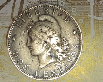 Antique Argentine Coin, 1891, Dos Centavos, Libertad, Republica Argentina, Bronze Coin, Free Shipping USA