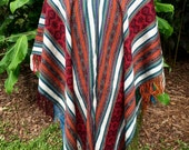 Alpaca Wool Poncho - Natural Dyes - One of a kind - Hand Woven